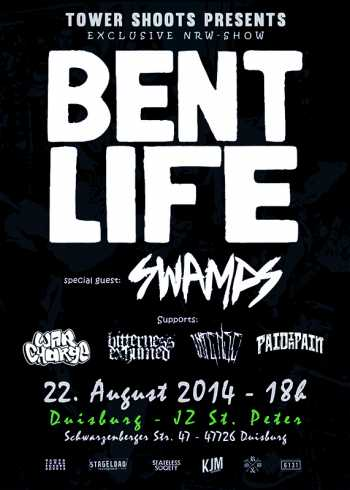 BENT LIFE, SWAMPS, WAR CHARGE, BITTERNESS EXHUMED, INTENSE, PAID IN PAIN
