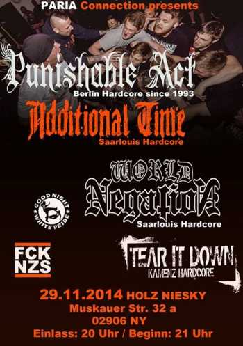 PUNISHABLE ACT, ADDITIONAL TIME, WORLD NEGATION, TEAR IT DOWN