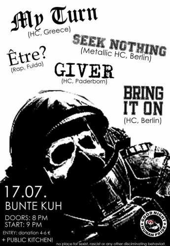 MY TURN, BRING IT ON, SEEK NOTHING, ETRE, GIVER