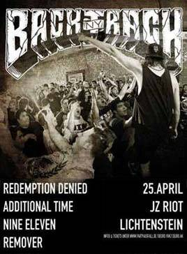 Konzert: BACKTRACK, REDEMPTION DENIED, ADDITIONAL TIME, NINE ELEVEN, REMOVER am 25.04.14 im JZ Riot in Lichtenstein